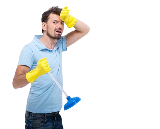 man unclogging toilet